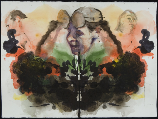 Cadmium red, cadmium yellow and sepia watercolor blot with three representational portraits